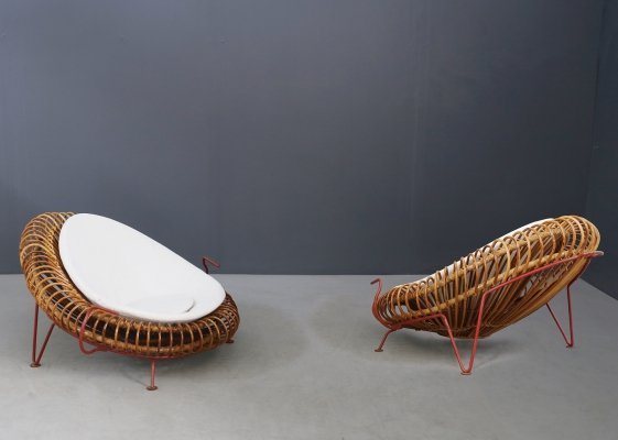 Rare Pair of bamboo armchairs by Janine Abraham & Dirk Jan Rol, 1950s