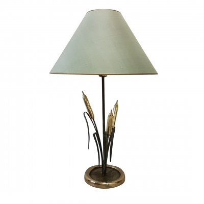 Italian brass & copper cattail table lamp, 1970s