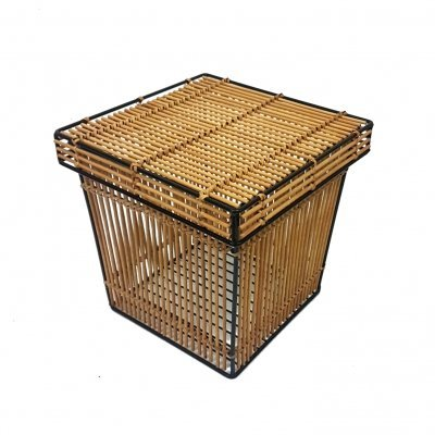 Rattan & steel basket, Netherlands 1970s