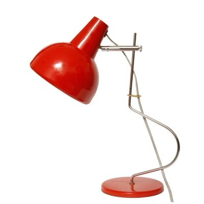 Red metal desk lamp by Josef Hůrka for Lidokov, Czechoslovakia 1960s