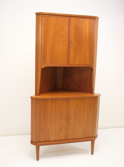 Teak wooden Danish corner cupboard, 1960s