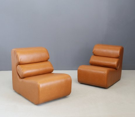 Pair of Space Age armchairs in semi-skin brown, 1970s