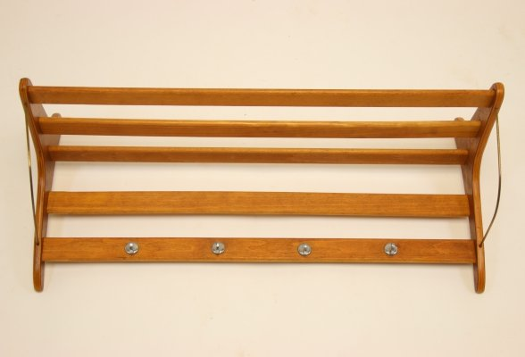 Teak Wall Coat Rack, Denmark 1960s