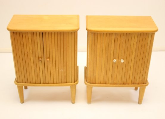 Pair of beech wood bedside tables with roller doors, 1960s