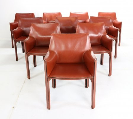 Set of 10 Mario Bellini 'Cab-413' Leather Armchairs for Cassina, Italy 1980s