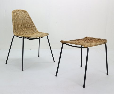 Gian Franco Legler Wicker Basket Chair & Ottoman, Switzerland 1951