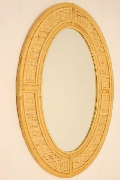 Large Oval Vintage Bamboo Wall Mirror, 1960s