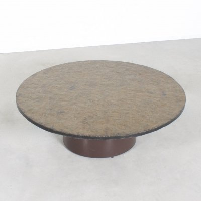 1970s Round Coffee Table with a Brown/Green Slate Top
