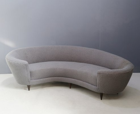 Curva sofa by Federico Munari in grey bouclè fabric, 1950s