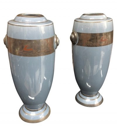 Set of Two Art Deco Ceramic Italian Vases, circa 1930