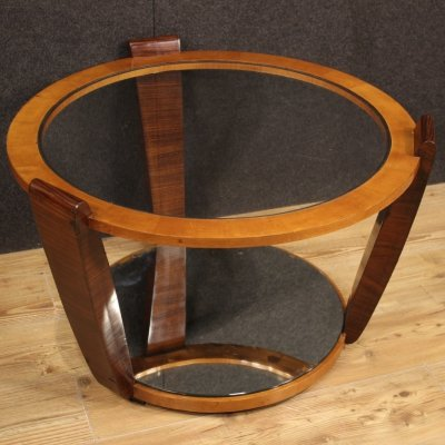 20th Century Palisander & Cherry Wood Italian Design Round Coffee Table, 1960