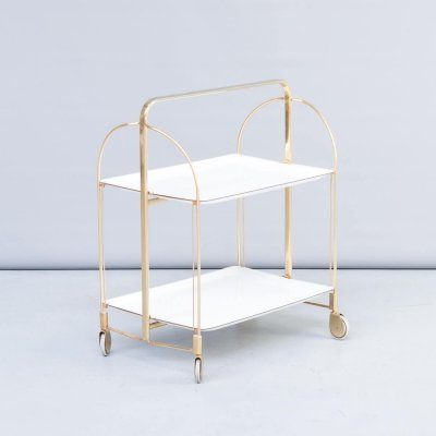 50s Brass & white serving trolley