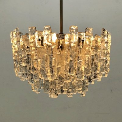 Ice glass chandelier by Kalmar Franken KG, 1960s