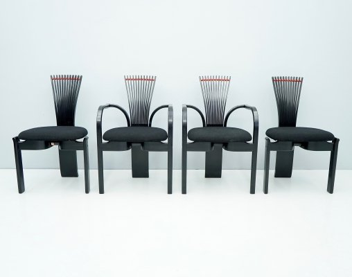 Set of 4 Sculptural 'Totem' Dining Chairs by Torstein Nilsen for Westnofa, Norway