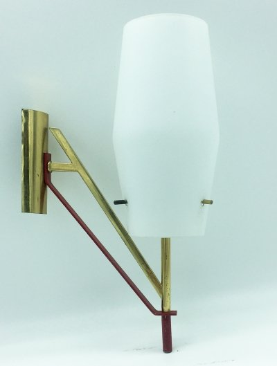 1960's Italian Brass & Red Laquered Metal Sconce