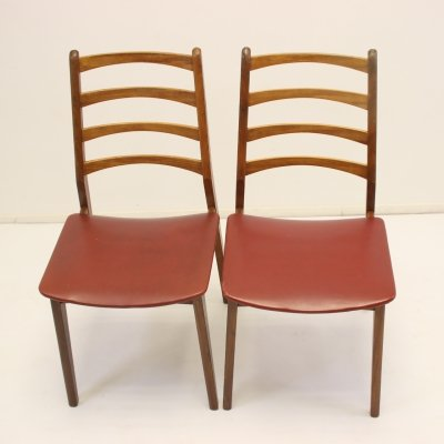 Pair of dining chairs with teak & vinyl red seats, 1960s