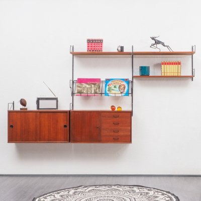 Mid-Century 1960s teak wall shelving system