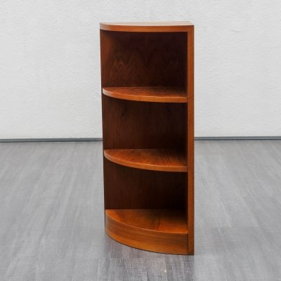 Vintage 1950s corner bookcase in walnut