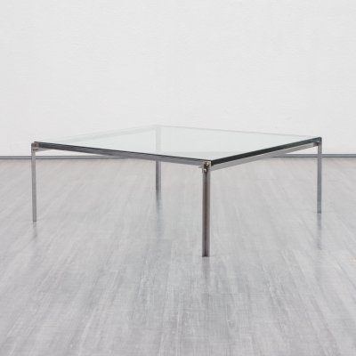 Mid-Century 1970s coffee table in glass & chrome