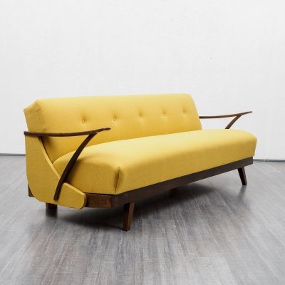 Mid-Century 1950s fold-out sofa in yellow