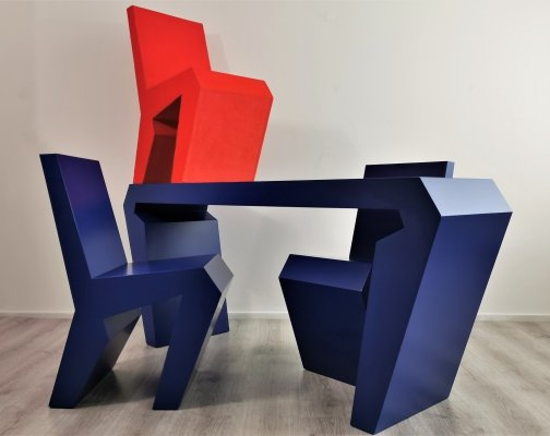 Rare Dutch Design Table & Chairs by Luc Brinkman, 1990's