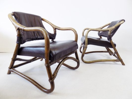 Set of 2 Danish mid century modern Bamboo lounge chairs, 1960s