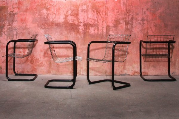 Vintage Metal Wired Dining Arm Chairs