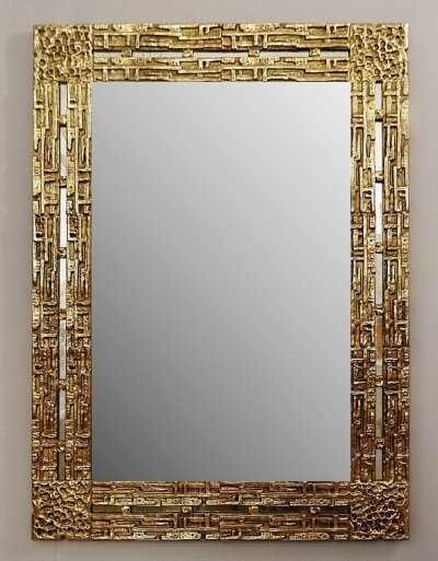 Cast Brass Mirror by Luciano Frigerio, Italy 1970s