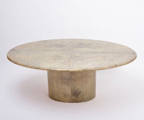 Aldo Tura oval dining table in lacquered Goatskin, Italy 1970s