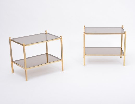 Pair of 1970s side tables made of gilt metal & smoked glass