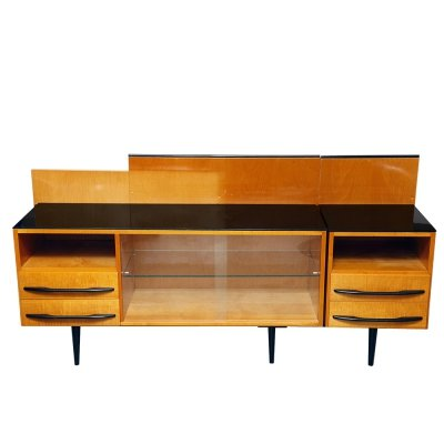 Sideboard & bedside table with black top by Mojmir Pozar for UP Závody, 1960s
