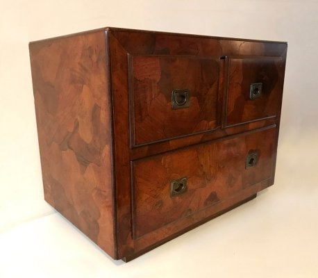 Burlwood patchwork chest by American of Martinsville, 1970s