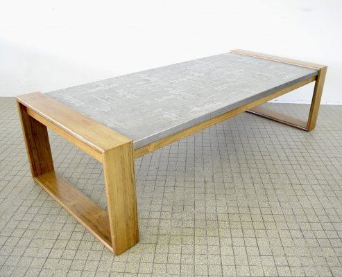 Large metal etched coffee table with wooden frame, 1970s