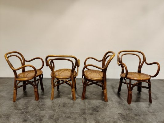 Set of 4 bentwood & rattan dining chairs, 1960s