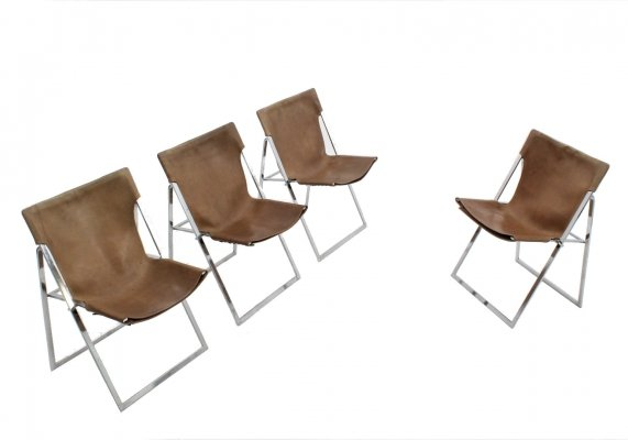 Set of 4 Italian folding dining chairs by Marcello Cuneo, 1970s