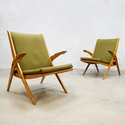 Set of 2 vintage design lounge arm chairs with scissor legs