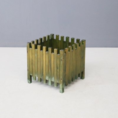 Ettore Sottsass planter for Poltronova in green wood, 1961