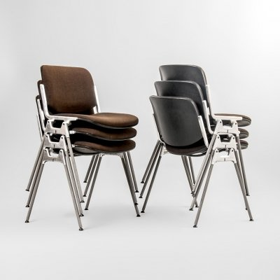 Set of six chairs model DSC 106 Giancarlo Piretti for Castelli, Italy, 1960's
