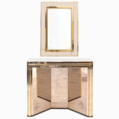 1980s mirror & console table set in Brass Chrome, 1980s