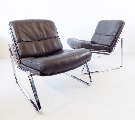 Pair of brown leather lounge chairs by Gerd Lange for Drabert, 1970s