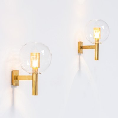 Pair of brass Hans Agne Jakobsson V80 wall sconces, 1960s
