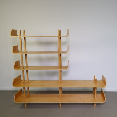 Birch plywood bookcase by Wilhelm Lutjens, 1950s