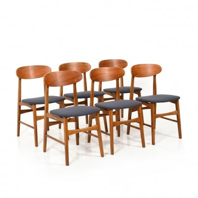 Set of 6 Mid Century Dining Chairs with Teak, 1960s