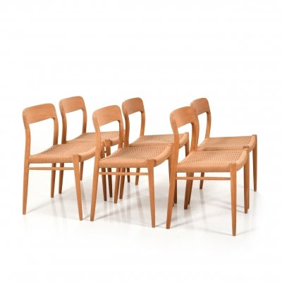 Set of 6 Danish 'Model 75' Dining Chairs by Niels Otto Møller for J.L. Møllers, 1960s