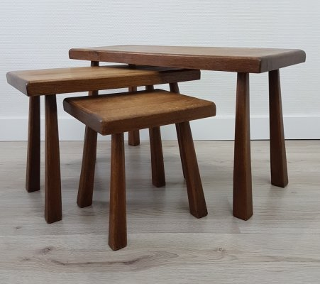 Mid-century Scandinavian oak nesting tables with tapered legs