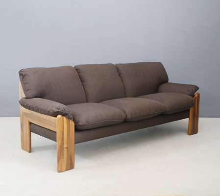 Brown Mobil Girgi 'Sapporo' three-seater sofa in noble wood, 1970s
