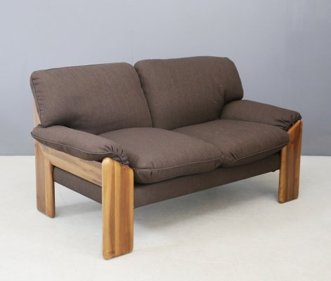 Brown Mobil Girgi 'Sapporo' two-seater sofa in noble wood, 1970s