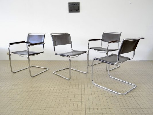 Thonet S33 + S34 dining chairs by Mart Stam, 1980s