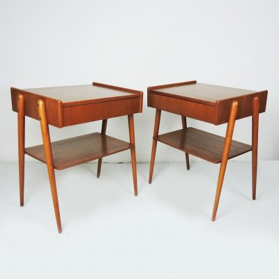 Pair of Mid-Century Teak Nightstands from Carlström & Co Möbelfabrik, 1960s