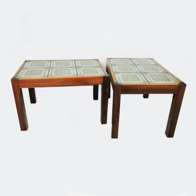 Green Tiled Top Coffee Table with Rosewood Frame, 1970s